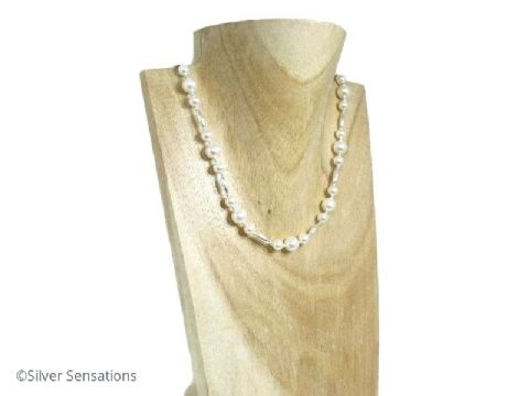 White Swarovski Pearls & Sterling Silver Olive Beads Wedding Necklace